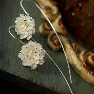 Silver lotus flower earrings delicate beautiful